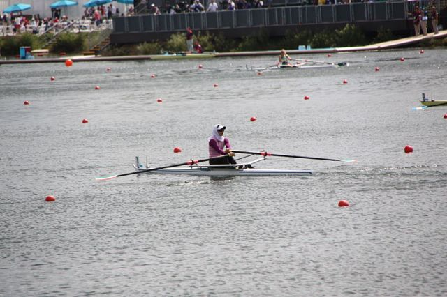 Muslim Woman rowing at 2012 Olympics.