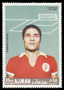 Eusébio depicted on a 1968 Ajman stamp