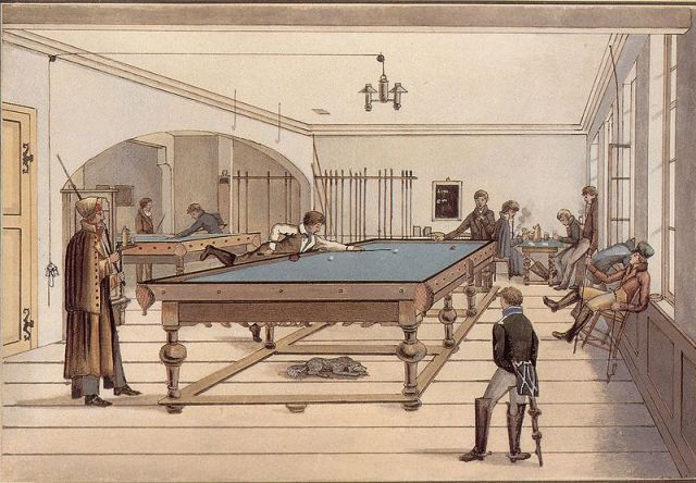 Tuebingen students playing three-ball pocket billiards, possibly English billiards or something related to it; early 19th century