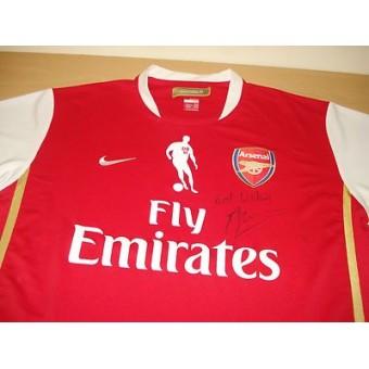 dennis bergkamp genuine hand signed autograph arsenal testimonial shirt