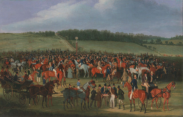 The Epsom Derby betting post, c. 1835
