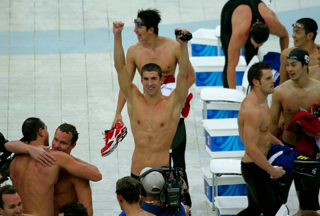 American swimmer Michael Phelps, along with his teammates, celebrates winning gold in the men's 4 x 100-meter medley relay. It was amazing to witness.