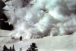 Dry snow avalanche with a powder cloud