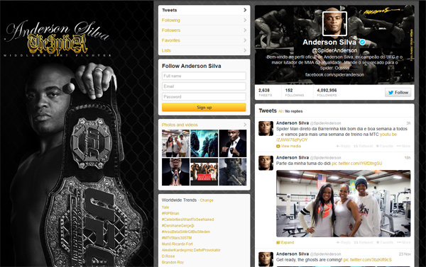 anderson silva twitter page