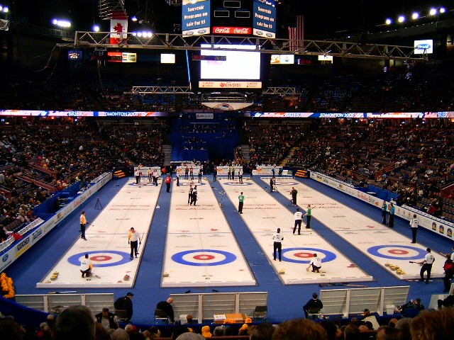 Overall view of the Tim Hortons Brier venue, Edmonton, Alberta, Canada