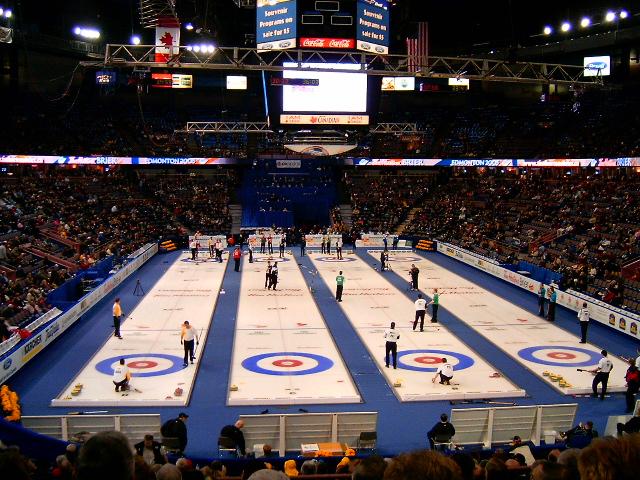 Overall view of the Tim Hortons Brier venue, Edmonton, Alberta, Canada