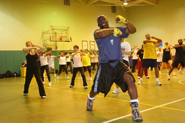 """Tae Bo"" creator, Billy Blanks holds a class for service members and their dependents on his famous roll boxing Tae Bo techniques."