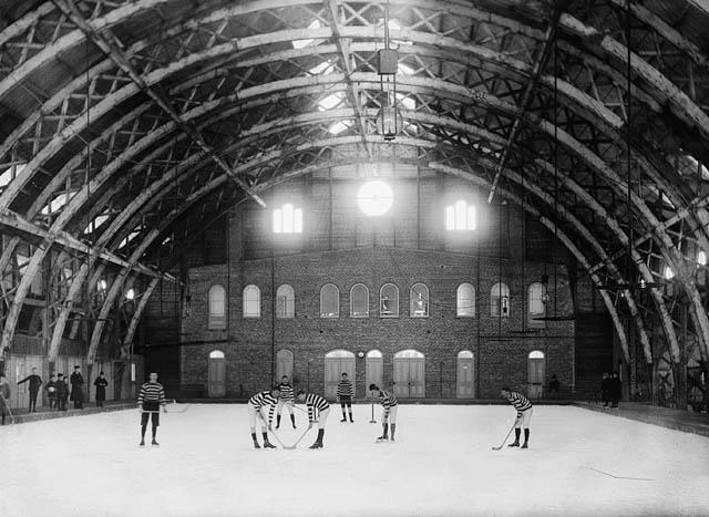 Early indoor ice hockey rink