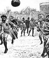 England playing Scotland in a representative match in 1872 at The Oval