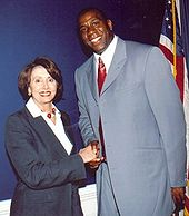 In 2003, Johnson met with Nancy Pelosi to discuss federal assistance for those with AIDS.
