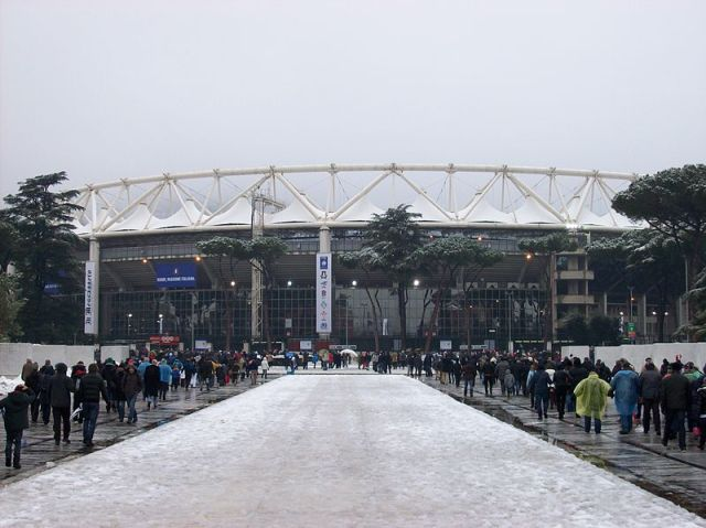 Olympic Stadium in Rome under the snow before the match Italy - England at the 2012 Six Nations