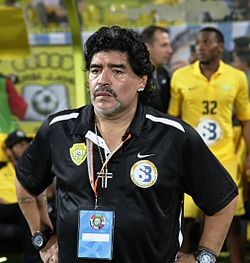 Diego Maradona at 2012 GCC Champions League final