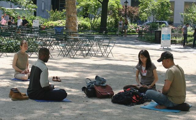 Meditating in Madison Square Park