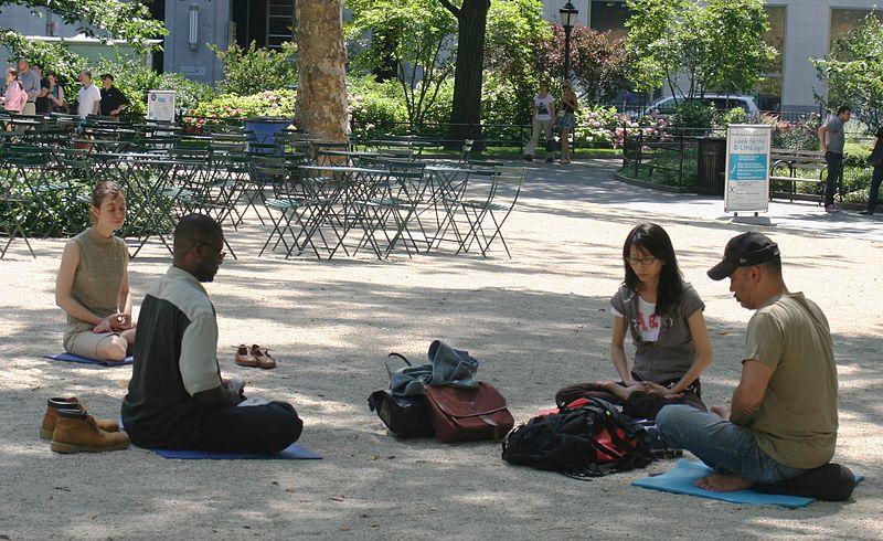 Meditating in Madison Square Park